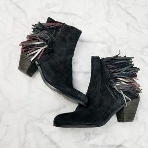Sam Edelman|Louie Black Fringe Ankle Boots
